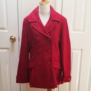 Moda International Red Pea Coat L